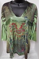 Dressbarn Womens Multi Color Floral Design With Gems Shirt Top Blouse Size M