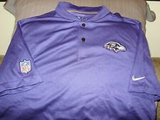 NFL Baltimore Ravens Nike Dri Fit Elite Coaches Blade Polo Golf Shirt Mens Large