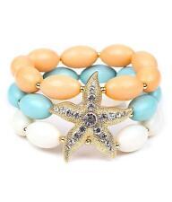 3 Strand Multi Color Lucite Bead Gold Tone Starfish Stretch Bracelet