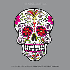 SKU1122 - Day Of The Dead - Calavera - Sugar Skull - Flower - Decal/Sticker