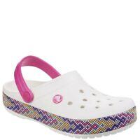 CHILDREN'S CROCBAND CROCS CLOGS Relaxed Fit White/Rainbow Mosaic UK J1 EU 32-33