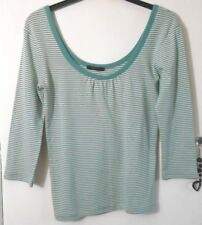 B.YOUNG SIZE L LADIES SOFT STRETCH GREEN AND CREAM STRIPE TOP