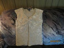 NWT Rampage Beige Lace over soft lining Shirred SleevelessTop shirt blouse Sz m