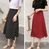 Women Fashion Casual Wave Polka Dot Skirts Chiffon High Waist  Midi SkiME