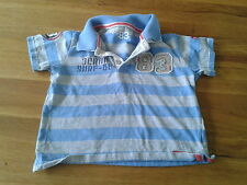Boys 3-4 Years - Blue & Grey Polo T-Shirt with Motifs