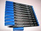 10 x Staedtler Lápiz de papel LUMOCOLOR S PERMANENTE 313-3 Azul OHP PEN Marcador