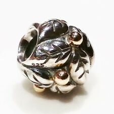 NEW AUTHENTIC PANDORA Charm Bead 790499 Leaves Silver 14ct Gold $105
