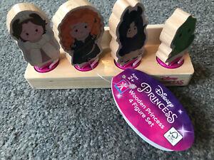 Disney Princess Wooden 4 Figure Set -New