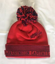 Washington Capitals Knit Beanie Toque Winter Hat Skull Cap NHL Red Pom Cuffed