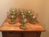 10 Vintage Green  Champagne Wine Sherbert Glasses