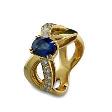 Ring Saphir Brillanten 2,50 carat 750-Gelbgold massiv Wert 6350 Euro Neu