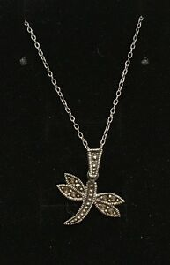 """VINTAGE STERLING SILVER & MARCASITE DRAGON FLY PENDANT-46cm (18"""") S/SILVER CHAIN"""