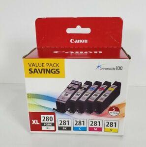 5-PACK CANON GENUINE PGI-280XL BLACK & CLI-281 COLOR INK TS9120