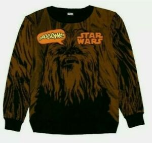 NWT STAR WARS CHEWBACCA PULLOVER SWEATER WITH SOUND YOUTH BOYS SZ S, M