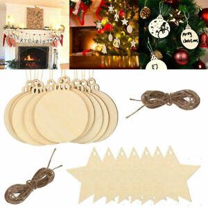 50-100X DIY Round Wooden Discs w/ Holes Ornament Bauble Slices Xmas Tree Decor