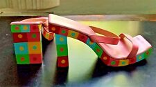 AUTHENTIC FENDI ITALY ICONIC WOODEN WOMENS SLIDES SHOES SANDALS SZ 8 1/2