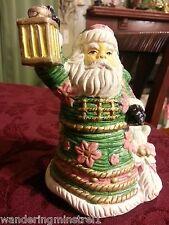 Santa Salt & Pepper Set Santa with lantern & cat  ceramic  The Seasons