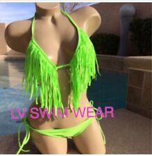 Neon Green Tassel Fringe Bikini Medium Nwot