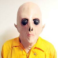 Realistic UFO Alien Head Mask Latex Creepy Halloween Costume Party Cosplay Mask;