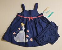 Disney Cinderella Infant Baby Girl 2 Piece Dress Set Blue 0-3 3-6 & 6-9 Mo NWT