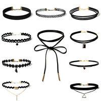 Retro 90s Gothic Jewelry 10x Black Classic Velvet Stretch Tattoo Choker Necklace