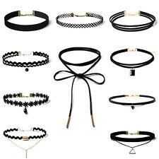 10PCS/Set Choker Necklace Women Girls Black Classic Velvet Stretch Neck Jewelry