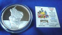 """Vtg """"Happy"""" Snow White Disney Rarities Mint 5 oz .999 Silver Round Coin w/ COA"""