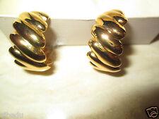 AVON*CRINKLE HOOP PIERCED EARRINGS/W SURGICAL STEEL POSTS GOLDTONE*NIB*RARE 1992