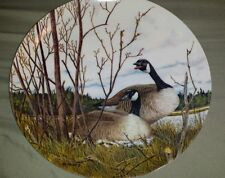 """1986 Bradex Dominion China Canada Geese Donald Pentz """"Nesting"""" Collector's Plate"""