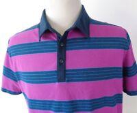 Mountain Hardwear Large Polo Shirt Striped Purple Blue Short Sleeve Cotton Blend