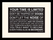 Your Time Is Limited Steve Jobs Framed & Mounted Print
