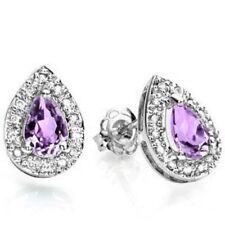 Ohrringe/Ohrstecker Jillian, 925er Silber, 0,7 Kt. echter Amethyst/Diamant