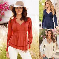 Fashion Long Sleeve V-Neck Tank Cotton Loose Women Casual Tops Shirt Blouse Sexy
