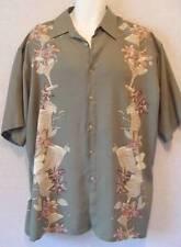 Cocktails Glasses Lilies Khaki Green RAYON Vintage Hawaiian CAMPIA MODA Shirt L