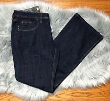 Motto Women's Size 8 Blue Jeans w Red & Gold Stitching Dark Wash Bootcut NWT