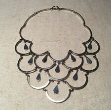 Taxco Mexico Vintage Sterling Silver Lapis Modernist Bib Chandelier Necklace