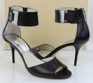 Women's Shoes Michael Kors Guiliana Open Toe Ankle Strap Sandal Black Size 6.5