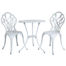 Charles Bentley Cast Aluminium Tulip Bistro Table and 2 Chairs Set - Color White