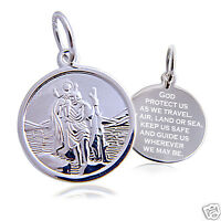 "Saint Christopher Pendant + 20"" Necklace Sterling Silver 16mm Round"