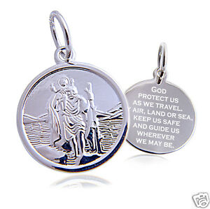 St. Christopher Pendant & Chain Sterling Silver 16mm Round, personalised