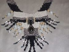 Hand Woven Tapestry Necklace One of a Kind Black Jasper Hematite Fossil Beads