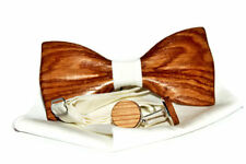 Mens wooden bow tie with cufflinks. Wood bow tie and cufflinks.