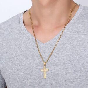 Cross Chain Necklace Pendant Crucifix Jesus Mens Women Steel Silver Gold Black