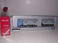 """Herpa #820018 Man Tank Truck w/20' """"Milk"""" Tank Trailor Blue & Gray H.O.Gauge"""