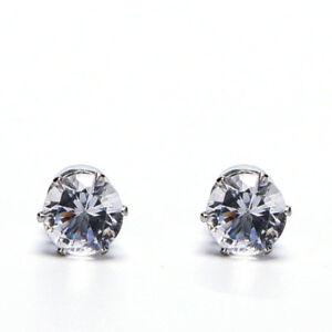 1Pair Stylish Unisex Mens Women Clear/Black Crystal Magnet Earrings Stud Jewelr^