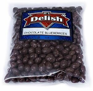 Gourmet Dark Chocolate Covered Blueberries by It's Delish, 1 lb (16 Oz Bag)