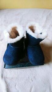 EMU AUSTRALIA TODDLER BOY/GIRL WARM BOOTS BOOTIES DENIM,WOOL,BLUE 5-6 US 12-18M