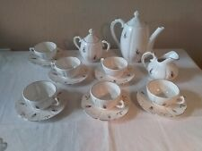 Vintage Children's 15 Pc Rose Gold Trim China Tea Set-Teapot Creamer Sugar Cups