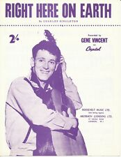 Right Here On Earth - Gene Vincent - Repro Sheet Music