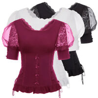 Vintage Victorian Gothic Womens Lace Up Plus Size V-Back Corset Tee Top Blouse